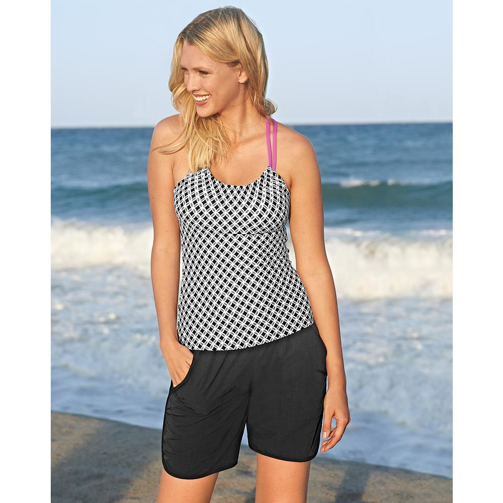 Fitness Eddie Bauer Swim Shorts - These lightweight quick-drying swim shorts provide extra coverage at the beach or pool. Adjustable drawstring waist with elastic band maximizes your fit options comfortably. Pair this versatile swim short with one of our Miraclesuit tops: Miraclesuit Ruched V-Neck Tankini Top, Banded-Bottom Tankini Top, V-Neck Tankini Top, Halter Tankini Top, or Bottom-Tie Tankini Top for a truly personalized fit. - $14.99