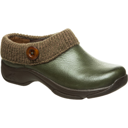 The Dansko Womens Kenzie Clog dazzles you with its comfortable fit and cozy style. This open-back clog has a sweater cuff and button details that separate it from the norm, and its waterproof nubuck leather protects your foot from the wet after a sudden rainshower. - $64.98
