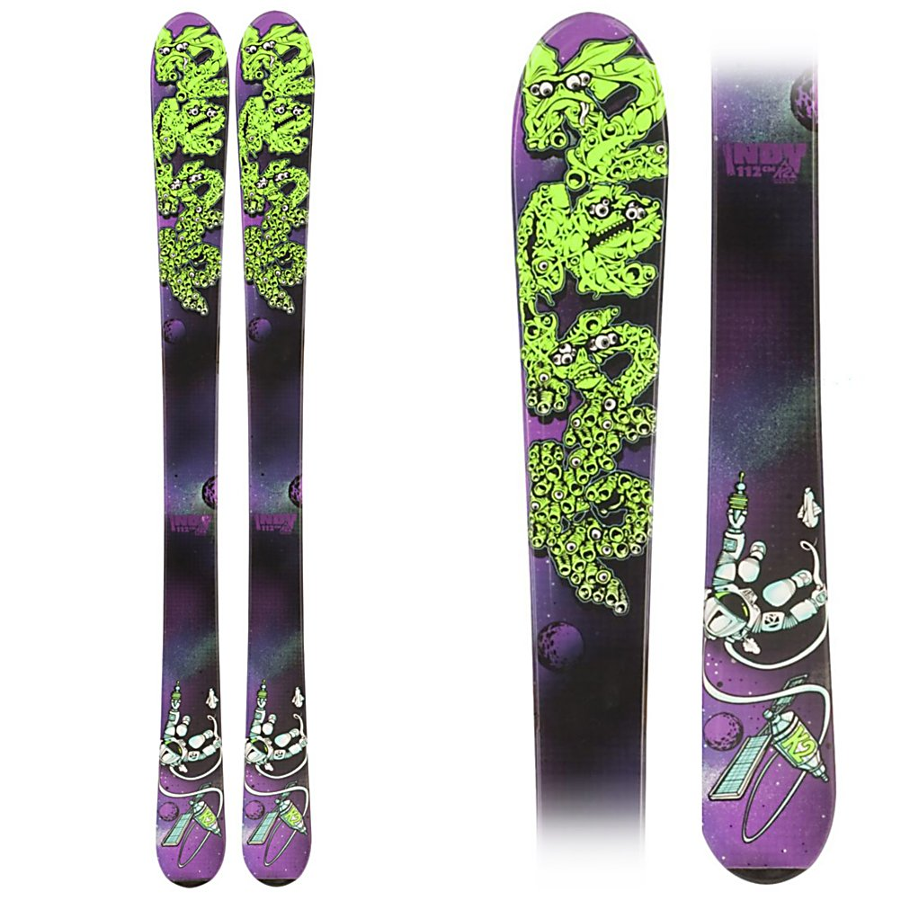 Ski K2 Indy Kids Skis - The K2 Indy is a great ski for kids that are starting to progress in their skiing. K2's All Terrain Rocker initiates turns easier, to help get your little guy to start carving turns instead of skidding them. The tip rocker also helps deflect the negative energy caused by the crud that can accumulate on the busy groomers. The Torsion Box cap construction gives the Indy plenty of snap and rebound, without being too stiff for younger lighter weight skiers. It also keeps the swingweight down, meaning less fatigue for the little guy so he can enjoy himself on the slopes all day with the family. . Tip/Waist/Tail Widths: 95/70/91 (@112cm), Actual Turn Radius @ Specified Length: 8m(@112cm), Warranty: One Year, Construction Type: Cap, Core Material: Composite, Base Material: Extruded, Tail Profile: Flared, Special Features: All Terrain Rocker, Special Features: Noodle Technology, Binding DIN: None, Rocker: Tip Rocker/Camber, Binding Weight Range: None, Used: No, Titanium: No, Turn Radius: - $69.93