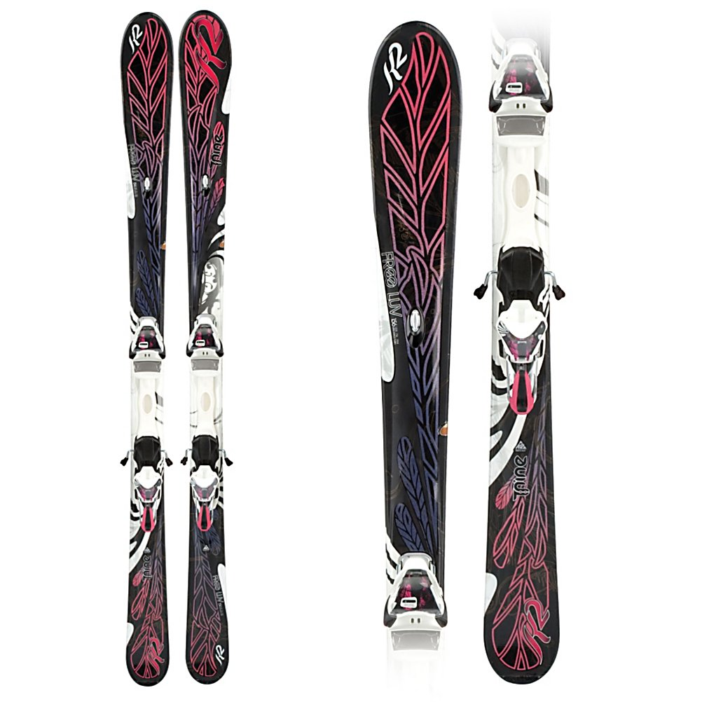 Ski K2 T:Nine Free Luv Womens Skis with ERS 11.0 TC Bindings - If your searching for an advanced women's ski that is predictable and easy to maneuver then you'll love the Free Luv. New this year the All-Terrain Rocker makes the Free Luv extremely versatile in a multitude of snow conditions. The rocker technology helps the ski float on top of the snow making it much easier to maintain a consistent turn shape with every turn. The women's specific Bioflex core is designed to help women be able to initiate each turn easier. Mod and Mod Monic Technologies combine to provide superior vibration dampening making these the smoothest of rides. The binding on this ski has a smaller toe piece reducing unnecessary weight to enhance finesse and control. Features: Mod and Mod Monic Technology for Vibration Dampening. Tip/Waist/Tail Widths: 120/76/104mm (@ 163cm), Actual Turn Radius @ Specified Length: 14m (@ 163cm), Warranty: One Year, Construction Type: Cap, Core Material: Wood, Base Material: Sintered, Tail Profile: Flared, Special Features: Mod and Mod Monic Technology, Binding DIN: 3-11, Rocker: Tip Rocker/Camber, Binding Weight Range: 65-240 lbs., Used: No, Titanium: No, Turn Radius: 11-15, Waist Width: 76-85mm, Skill Range: Advanced Intermediate - Expert, Model Year: 2011, Shipping Restriction: This item is not available for shipment outside of the United States., Product ID: 194478, Ski Gear Intended Use: All Mountain, Alpine Touring: No, Twin Tip: No, Race: No, Bindings Included: Yes, What Binding is Included?: ERS 11.0 TC, Gender: Womens, Type - $399.99