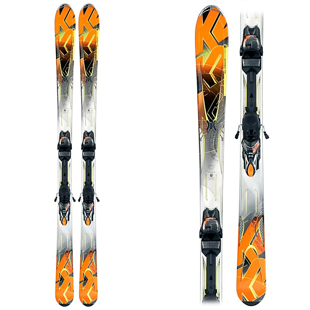 Ski K2 A.M.P. Impact Skis with MX 12.0 Bindings - New from K2 this season is the A.M.P. Impact. Designed for the advanced intermediate this new ski has K2's All Terrain Rocker (rocker in the tip with camber underfoot), and an 80mm waist. Tip rocker helps the ski plane on top of powder, engage the edge quicker on the groomers, and deflect the negative energy that is caused by bumps and crud. Hybritech sidewalls, and a progressive sidecut ensure that when the snow is firm or icy you have a solid grip on things. A triaxial braid, and Carbon Web give the Impact torsional rigidity without adding extra weight. MOD and MOD Monic technology smooth out the ride, and reduce vibrations so the Impact can go any where, on piste or off. The Marker/K2 MX binding system is easy to work with and gives the ski an nice even deep flex. The Impact is a great value for the advanced intermediate who will like to do it all groomers, trees, powder and bumps, grab one of these new skis today while supplies last. . Model Year: 2012, Product ID: 306195, Shipping Restriction: This item is not available for shipment outside of the United States., Waist Width: 76-85mm, Turn Radius: 16-20, Titanium: No, Used: No, Alpine Touring: No, Twin Tip: No, Race: No, Binding Weight Range: 110-225lbs., Rocker: Tip Rocker/Camber, Binding DIN: 3-11, Bindings Included: Yes, Special Features: Progressive Sidecut, Special Features: All-Terrain, Tail Profile: Flared, Base Material: Sintered, Core Material: Wood w/ Carbon, Construction Type: Cap/Sidewall, What Binding is Inc - $379.99