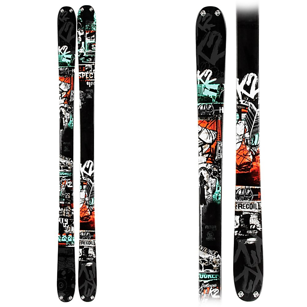 Ski K2 Recoil Skis - The Recoil from K2 is a perfect ski for the young adult, or teen that likes to rip the groomers, spend some time in the trees and powder, and make heads turn in the park and pipe. ABSorb sidewalls are a horizontal sidewall construction that smashes a layer of urethane in between the ABS for shock ABSorbtion, lessening the impact of hard landings. Urethane is also used underfoot to maximize the dampening, but the ABS is used toward the tip and tail to increase edge control. 90mm underfoot and K2's All Terrain Rocker keep the ski floating in the powder, and quicker turning on the groomers. The Triaxial Braided Fir/Aspen wood core has plenty of torsional rigidity to handle the crud and chop, and still be nimble and easy turning for speeding down the hard pack. The Bi-Directional taper can be easily skied switch toward a humongous kicker and boosting as high as you can get. Tip and tail hardware increase durability and reduce the chances of splitting open the ski. The K2 Recoil can be taken any where with ease and make a perfect ski for the guy who will do it all groomers, park, powder, and side country. . Tip/Waist/Tail Widths: 121/90/115 (@179cm), Actual Turn Radius @ Specified Length: 20M (@179cm), Warranty: One Year, Type: Freestyle Skis, Gender: Mens, What Binding is Included?: None, Construction Type: Sidewall, Core Material: Wood, Base Material: Sintered, Tail Profile: Twin, Special Features: ABSorb Twin Tech Sidewalls, Special Features: Park Rocker, Bindings Included: No, - $299.95