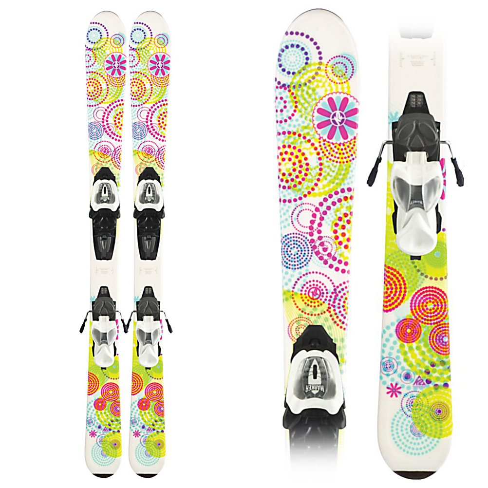 Ski K2 Luv Bug Fastrak 4.5 Kids Skis with Marker Fastrak 4.5 Bindings - The K2 Luv Bug with the Fastrak 4.5 binding system has a few unique features that are exclusive to K2's kid's skis. Noodle Technology keeps the flex of the ski consistent to the size of the ski. Shorter skis with binding plates lose their natural flex and make the ski stiffer. The binding plate is fused to the ski, not needing screws. A thinner core provides a deeper, smoother flex of the ski, making the ski more user friendly, and keeping her out on the slopes all day. The Luv Bug also has K2's Catch Free Rocker that is designed for younger, newer skiers. The tip and tail have slight rocker in them, making the ski easy to initiate turns especially at slower speeds. Your grom will be carving turns sooner. The K2 Luv Bug is a great ski to have your kids get to addicted to the sport. . Warranty: One Year, Base Material: Extruded, Special Features: Noodle Technology, Special Features: All Mountain Rocker, Skill Range: Beginner - Advanced Intermediate, Model Year: 2012, Product ID: 226781, Shipping Restriction: This item is not available for shipment outside of the United States., Ski Gear Intended Use: All Mountain, Waist Width: 70-75mm, Turn Radius: - $149.90