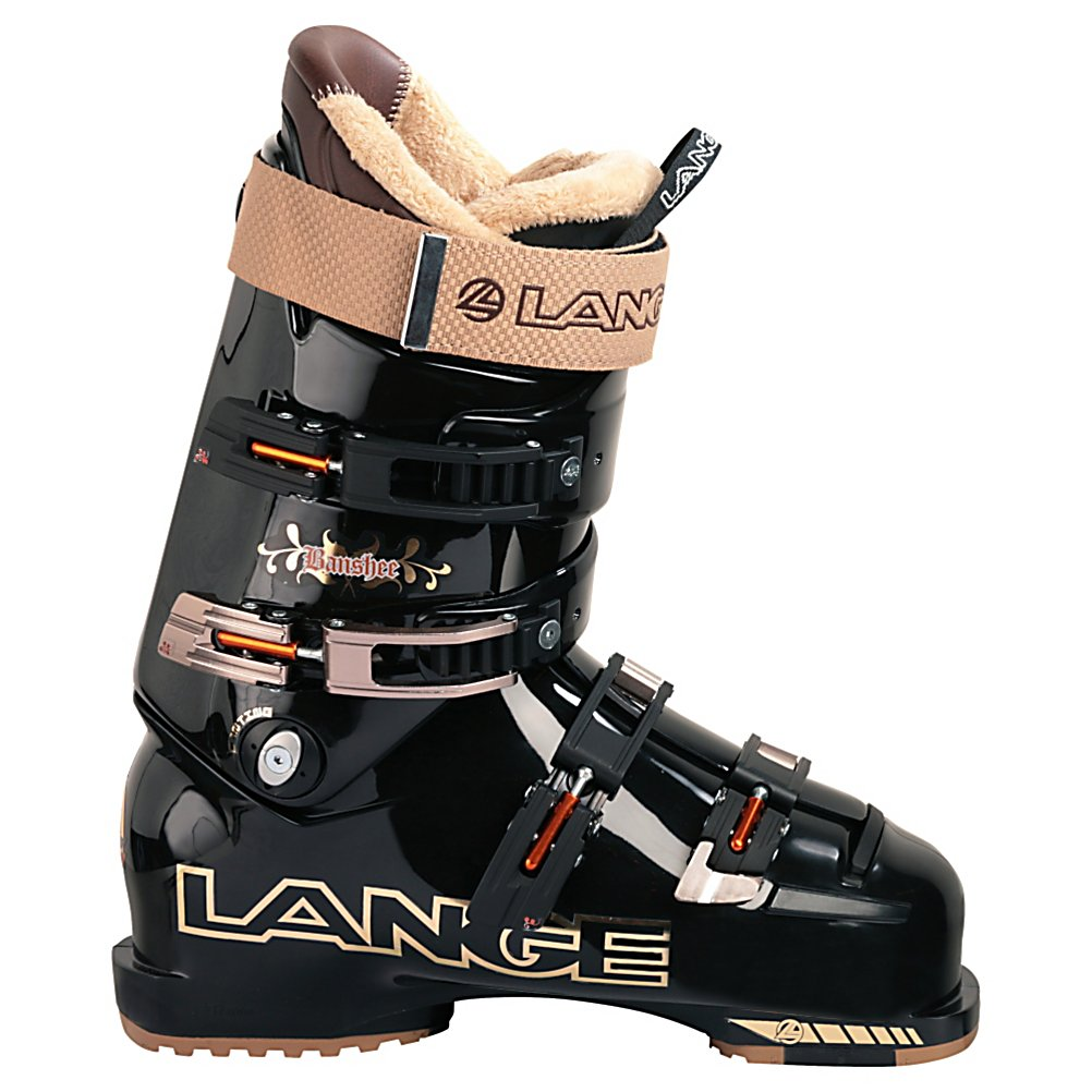 Ski Lange Banshee Ski Boots - The Lange Banshee ski boot is built using the powerful RL 11 shell. This shell has the long, progressive flex pattern that Lange is famous for, which allows for more control, power and versatility. The RL 11 shell gets a few tweaks for all-mountain skiing with items like a shock absorbing boot board, and a shock absorption toe box for those harsh landings, and non-slip soles. The dampening boot board absorbs vibration from off trail skiing to quiet unwanted vibrations giving you increased feel over your skis and smoothing out the ride so you don't have to worry about hitting those back bowls once they have been tracked and skied out. Gel tongue absorbs shocks against the shin reducing shin bang and non-slip soles make hiking easier. Treat your feet to the Lange Banshee and scream down those fall lines. For the advanced to expert skier who need a 100 flex 98mm last boot that will perform with the best yet has the luxury to make a day on the hill the most pleasurable experience possible. . Lining Material: Custom Fit - Thermo Toe Box, Actual Flex: 100, Cuff Alignment: Dual, Warranty: One Year, Gender: Mens, Special Features: Race Inspired Shell, Type of Boot: Performance, Ski Boot Width: Narrow (95-99mm), Shell Material: Polyether, Buckle Count/Type/Material: 4/Micro Adjustable, Special Features: Grip Soles, Flex: Stiff, Race: No, Used: No, Ski/Walk: No, Prewired For Heat: No, Number of Micro Buckles: Four, Freestyle: No, Sidecountry: No, Forefoot Width: 98mm, Flex Adjustment: - $149.95