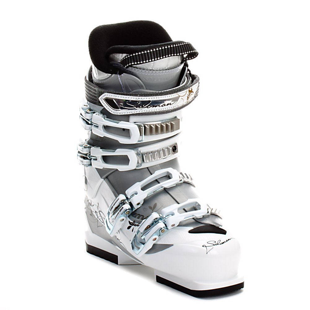 Ski Salomon Divine MG Womens Ski Boots - If you are looking for a good beginner boot with out a tall price tag the Salomon Divine MG should be on the top of your list. The 45 flex is soft and easy to bend, so your skills and technique will be improving in no time. The 25mm power strap acts like a fifth buckle to help give you more rebound as you start to work your way up to the blues. The Divine MG has a Tool Free Catch Adjustment in the cuff for added comfort, and will accommodate all calf sizes, big or small. Salomon's X Fit Fusion Comfort Liner is soft and cushy, to keep your feet comfortable and warm so you can be out on the slopes all day and night. At 104mm wide in the forefoot the Divine MG is perfect for even the widest of feet. The Salomon Divine MG is a great true beginner boot for all leg shapes and medium to wide feet. Gape it up today. Features: 25mm Power Strap. Actual Flex: 45, Cuff Alignment: None, Warranty: One Year, Special Features: Wide Cushy Fit, Width: Wide (104-106mm), Special Features: X Fit Fusion Comfort Liner, Flex: Soft, Race: No, Used: No, Ski/Walk: No, Prewired For Heat: No, Number of Micro Buckles: 2 Micro/2 Vario Adjustable, Forefoot Width: 104mm, Flex Adjustment: No, Buckle Count: 4, Buckle Material: Wire and Plastic, Skill Range: Beginner - Intermediate, Model Year: 2012, Product ID: 235423, Category: Downhill, Sidecountry: No, Freestyle: No, Gender: Womens - $139.99