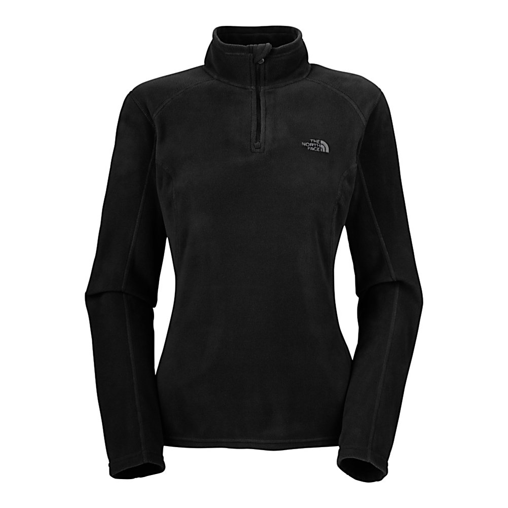 Ski The North Face TKA 100 Glacier 1/4 Zip Womens Mid Layer - Cozy up with this North Face Womens TKA 100 Glacier 1/4 Zip Mid Layer and stay warm and comfortable without the bulkiness of thick layers. Made with lux Polartec 100 Micro fleece, this super soft fleece offers more warmth and breathability without the weight when compared to regular fleece. Pill, fade, and moisture-resistant, this lightweight fleece is a superior barrier against cool to cold conditions and excessive machine washing. Wear it as a layer, or alone, and you will be supplied with the best comfort you've ever experienced with the North Face Women's TKA 100 Glacier 1/4 Zip Mid Layer. Features: Dries quickly to minimize heat loss and has pill-resistant face/backing. Insulation Weight: 155g, Hood Type: None, Material: Polyester, Fleece Weight: Mid, Category: Mid-Weight, Hood: No, Warranty: Lifetime, Battery Heated: No, Type: Partial Zip Top, Wind Protection: No, Type: Turtlenecks and Layering, Material: Fleece, Pockets: None, Wicking Properties: No, Type: Long Sleeve, Water Resistant: No, Model Year: 2013, Product ID: 230692, Shipping Restriction: This item is not available for shipment outside of the United States. - $55.00