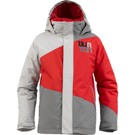 Snowboard The Burton Boys' Symbol Jacket lays down hard with bold style and enough over-the-top tech to keep your guy dry and warm on the mountain. Thanks to DryRide breathable waterproofing and Thermacore insulation snow stays out and body heat stays in. He can ride from first chair to last lift and never even notice the weather. - $71.45