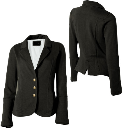 Surf Add a bit of style to your tee and jeans look with the Hurley Women's Winchester Blazer. This signature fleece blazer with a button front closure and cool slouchy sleeve style gets peeps' attention while you wait in line for some concert tickets. - $35.67