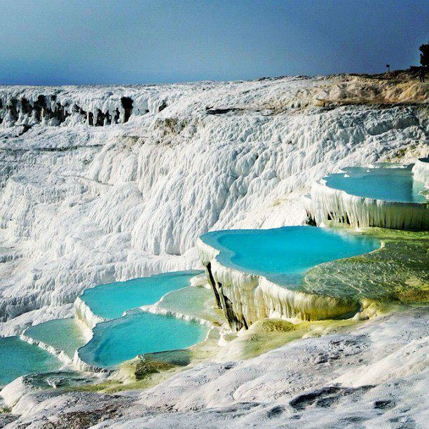 Camp and Hike The Travertines in Pamukkale, Turkey.