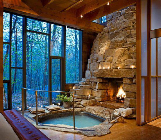 Entertainment Indoor fireplace and hot tub