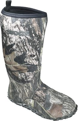 "Fishing The warmth, walking comfort and stealth serious hunters demand. Comfort-rated to -40 F. 100% waterproof protection combined with neoprene insulation for walking comfort. Unique tread leaves dirt, debris and mud behind. Aegis Microbe Shield absorbs odor.Height: 15"".Men's whole sizes: 8-14.Camo pattern: Mossy Oak Break-Up . - $59.88"