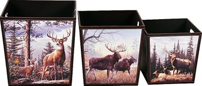 Hunting This set is a unique way to add decorative storage to any living space. The prints on each bin are featured on all four sides, and each bin has two carry handles cut into the sides. Sturdy construction has a faux-leather surface and contrast stitching. Easily wipes clean with a damp cloth. Imported.Large box dimensions: 15.75H x 15.75W x 15.75D.Medium box dimensions: 14H x 14W x 14D.Small box dimensions: 12H x 12W x 12D.Available:Wildlife Set Features beautiful prints of three of North Americas most majestic wildlife pairs: whitetail deer, moose and elk.Loyal to the Hunt Set Wildlife and stylish graphics carry a fun, playful vibe any outdoorsman will love. - $63.99