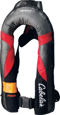 Motorsports Compare the compact, lightweight design and superior safety features of our Tournament PFDs with all other inflatables on the market and youll quickly realize there is no better value for your dollar. With the enhanced comfort features of our Guardian Series line of PFDs, youll wear them every time youre on the water and wont even realize theyre on until you need them. Automatically inflates upon water immersion with manual backup. Comfort-Flex panels reduce bulk and keep the inflatable off the neck. A deluxe neoprene comfort collar combines with the Max-Comfort backstrap and memory-foam lumbar supports. Improved E-Z fold bladders are more compact, easily repack and inflate to a minimum 35-lb. buoyancy (more than twice the buoyancy of foam life vests). A clearview window reveals the cylinder seal indicator. Zippered security pocket and 2 adjustable waistbelt. USCG-Type-II approved. Durable 420-denier nylon shell. All models meet U.S. Coast Guard specifications. Fits chest sizes 30-52. Imported.Colors: Tan, Navy, Red. Color Tan. - $169.99