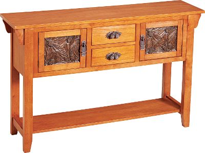 Entertainment With hand-cast pine cone handles, drawer pulls and panels, this simple parawood console table subtly brings a touch of the outdoors into your home or cabin. A smooth natural finish on the entire unit is both rustic and beautiful. Two cabinets and two drawers provide storage for extra silverware, bottle openers, glasses and more. The lower shelf can hold up to six wine bottles, while pullout sides provide extra surface space. Ships fully assembled.Dimensions: 36H x 29.5W x 18.75D. Type: Buffet Tables. - $649.99
