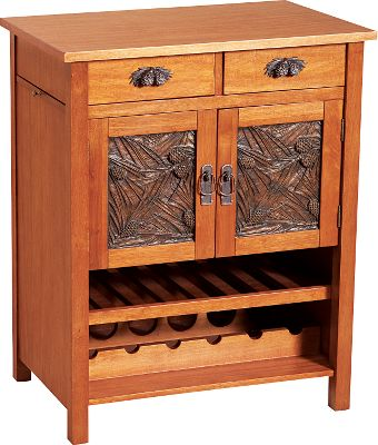 Entertainment With hand-cast pine cone handles, drawer pulls and panels, this simple parawood buffet table subtly brings a touch of the outdoors into your home or cabin. A smooth natural finish on the entire unit is both rustic and beautiful. Two cabinets and two drawers provide storage for extra silverware, place settings, glasses and more. Assembly required.Dimensions: 30H x 48W x 12D. Type: Console Tables. - $599.99