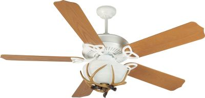 This popular fan features a heavy-duty three-speed reversible motor in a white seamless steel housing. Blades are light oak. Comes with antler light kit and two 13-watt CFL bulbs. Includes 2 and 6 downrods. Imported. Limited lifetime warranty. Type: Ceiling Fans. - $249.99