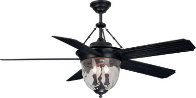 Aged bronze finish and ripple glass shade add a traditional look indoors or out. Three-speed motor is easy to control with included remote. Suitable for damp locations. Requires three 40-watt candelabra bulbs (not included). Includes 6 downrod. Lifetime warranty. - $359.99