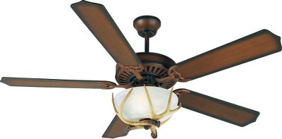 The simple design of the walnut-finished blades and housing on the heavy-duty three-speed reversible fan fits easily into just about any dcor. It comes with an antler light kit to give it a bit of outdoor style. Includes two 13-watt CFL bulbs and 4 downrod. Lifetime warranty. - $174.99