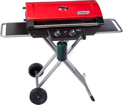 Camp and Hike 20,000-BTU hybrid two-burner design easily handles cooking any meal. Folds and rolls for convenient transport. Two side tables provide ample space for food preparation. Removable grease tray, cast-iron grates, and Integrated thermometer. When collapsed it measures 15H x 41W x 19D for easy transportation. Push-button electronic ignition uses a 1-lb. propane cylinder (not included).Dimensions: 39H x 36W x 20D (set up). - $204.88
