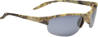 Entertainment These highly effective polarized sunglasses will complete your hunting-accessories package, but are stylish enough for everyday wear. The minimized frame design sports a rimless platform and a matte-camo finish. The dark polarized smoke lenses block 100% of UV rays and eliminates 99% of reflective glare. Acetate lenses are impact-resistant to ANSI Z80.3 standards. - $29.99