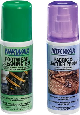 Clean, protect and revitalize your high-tech footwear or leather gear with a Nikwax twin-pack. Both kits contain a 4.2-oz. bottle of sponge-on Footwear Cleaning Gel. This agent safely lifts out dirt while revitalizing breathability and water repellency. Safely cleans smooth leather, suede, nubuck and fabric. It also cleans GORE-TEX and Sympa-Tex footwear. Kit also contains your choice of a specifically designed 4.2-oz. bottle of spray-on, water-based waterproofing treatment. The Nubuck and Suede Proof Kit safely treats nubuck and suede footwear, saddlery and chaps. It also treats GORE-TEX and eVent fabrics. The Fabric and Leather Proof Kit safely treats fabric and leather footwear. It also treats GORE-TEX, SympaTex and eVent fabrics. Available: Nubuck and Suede Proof, Fabric and Leather Proof. - $2.88