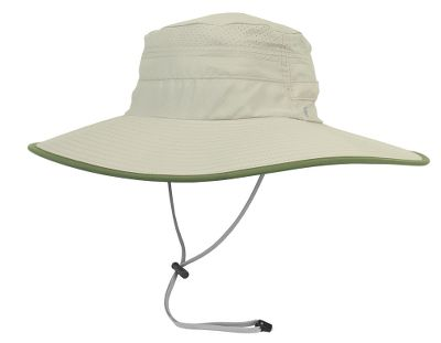 The wide brim wards off the suns rays, while mesh vents and a moisture-wicking sweatband keep you cool and comfortable. Water- and stain-resistant fabric stands up to the elements and offers a UPF rating of 50. An interior crown pocket secures small essentials. Two adjustable cords ensure your hat stays on in the wind one along the crown and one underneath the chin. Brim is 4 in front and 5 in back. The dark underside reduces glare. 100% polyester construction. Imported. Sizes: Medium, Large. Colors:Waterfall, Sandstone. Size: L. Color: Waterfall. Gender: Female. Age Group: Adult. Material: Polyester. - $40.00