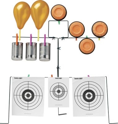 Add variety to your airgun or slingshot practice. Holds paper targets, clay pigeons, cans and even balloons. Steel construction. Includes paper targets, balloons and target clips. Color: Clay. - $24.99
