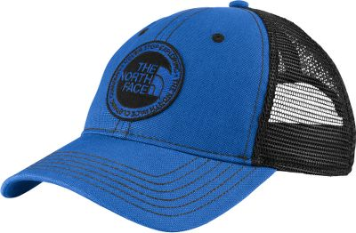 Classic trucker style with an airy polyester mesh back for quick-cooling comfort. 100% cotton front is garment-washed for a rugged, broken-in look and feel. Adjustable snap closure. The North Face logo patch. One size fits most. Imported.Colors: Dune Beige, New Taupe Green, TNF Black, Nautical Blue. Type: Hats. Size: One Size Fits Most. Color: Nautical Blue. Size One Size Fits Most. Color Nautical Blue. - $30.00