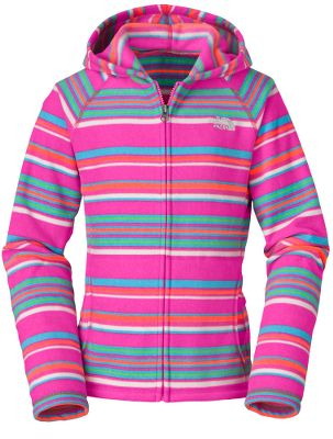Your girl will love the ultrasoft feel of this chill-busting fleece. Full-zip hoodie is crafted of extra-durable, pill-resistant polyester fleece for lightweight warmth. Contrast stitching at seams adds a little style. Kangaroo handwarmer pockets keep her hands toasty warm. Imported.Sizes: XS-XL.Colors: TNF White Stripe, Linaria Pink Stripe. - $29.88