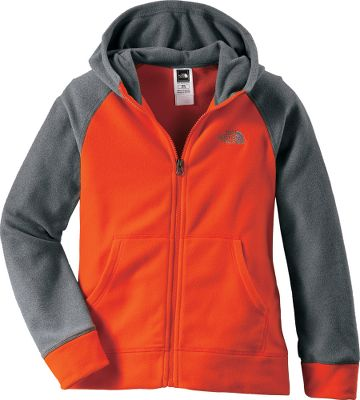 This lightweight polyester fleece hoodie is warm and ultracomfortable, serving your child well as a layer for early spring days at the park and long day hikes alike. The extremely durable, pill-resistant surface remains soft to the touch wash after wash. Kangaroo-style handwarmer pockets. Imported.Sizes: XS-XL.Colors: TNF Black/Nautical Blue, Zinc Grey Heather, Zion Orange. - $32.88