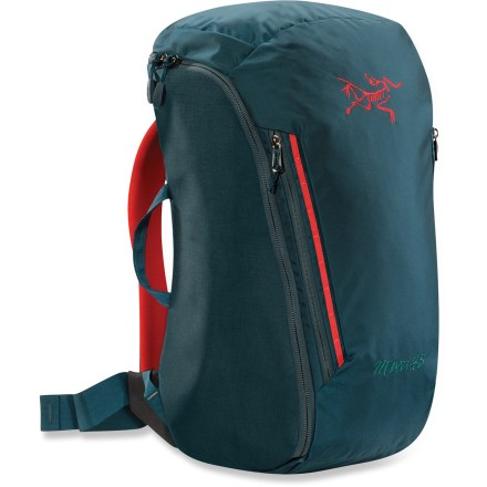 Climbing The fully padded Arc'teryx Miura 45 pack is a sleek crag bag that comfortably hauls gear with easy loading and access for a long day or quick overnight climbing adventure. - $170.93