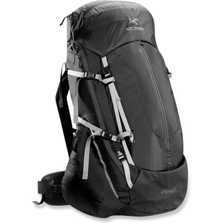 Camp and Hike Arc'teryx Altra 65 pack handles gear-heavy weekends or light-and-fast multiday trips. This workhorse pack combines an advanced suspension system with a sturdy frame and light materials. Highly breathable suspension system creates a direct link between spine, suspension and bag. Suspension is bonded directly to the pack body for comfort and stability; features twin removable aluminum stays for reliable load support. Anatomically shaped shoulder straps feature a core layer of perforated, air-permeable foam lined with breathable mesh for next-to-the-skin comfort. Shoulder straps adjust both vertically and horizontally for a personalized fit. Rotating Load Transfer Disc(TM) lets the hipbelt pivot, following your natural movements for agility and stability. Thermoformed, triple-density hipbelt promotes airflow and evaporative cooling. Removable and expandable top lid comes with 2 zippered compartments and a map pocket. Extendable collar with drawcord adds capacity to the main compartment for handling large loads. Top-loading pack design also features a full-length, inverted-U zipper, allowing quick access to the main compartment through the front panel. Features a hydration-reservoir sleeve with port and hose clip for the drinking tube (reservoir sold separately). Front kangaroo pocket is perfect for stashing gear you may need in a hurry. 2 stretch-mesh side pockets with elastic drawcords secure your water bottles or snacks. 4 compression straps and padded compression wings let you cinch down your load for jostle-free carrying; micro daisy chains for lashing on gear. Silicone- and polyurethane-coated pack body is made of 100-denier Invista HD Mini Ripstop(TM) nylon and 210-denier Ripstorm(TM) nylon. Pack base is made of burly, 420-denier Invista HD plain weave nylon. Arc'teryx Altra 65 pack features a padded bottom, Hypalon(TM) trim and reinforced high-wear areas to bolster durability. - $449.00