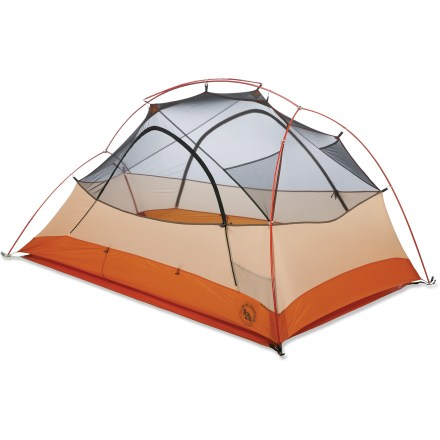 Camp and Hike Enjoy a fantastically light load and plenty of living space with the updated Copper Spur UL2 tent from Big Agnes-its trail weight has been reduced to a scant 3 lbs. 1 oz.! 2 doors and 2 vestibules provide private entrances and gear storage for each person; stormflaps protect vestibule zippers. Light yet strong, DAC Featherlite(R) NSL poles are anodized without the use of harmful acids. Double hub/pole design and DAC Twist Clips makes setup quick and easy; DAC H clip attaches tent body to cross pole. Crossover pole provides roominess up high. Lightweight fabric has a high thread count and double twisted thread for strength and durability. Opposing mesh doors provide good cross ventilation. Rainfly and floor are made from extrememly light silicone-treated ripstop nylon with a waterproof polyurethane coating. All seams taped with waterproof, solvent-free polyurethane tape. Reflective guyline and reflective webbing on tent corners enhance nighttime visibility. Interior mesh pockets keep your gear organized and up off the tent floor; includes gear loft loops. Includes stuff sacks and 8 superlight aluminum J-stakes. For a lightweight setup during nice weather leave tent body behind; use the rainfly and footprint (sold separately) with the poles and stakes. Footprint (sold separately) extends the life of the Big Agnes Copper Spur UL2 tent by protecting it from abrasive wear and tear. - $299.93