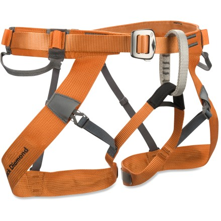 Climbing The Black Diamond Couloir Climbing Harness weighs only 230g (8 oz.) and packs down so small you can carry it in a jacket pocket. - $47.93