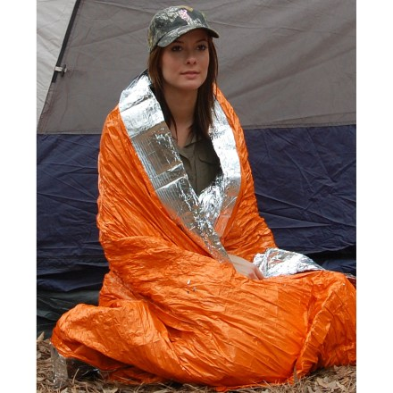Camp and Hike Keep the reusable Blizzard Survival blanket stashed in your backpack or vehicle. You never know when you might need it. Unfolded, this extra-large blanket measures 94.5 x 92.5 in. and can be used as an emergency sleeping bag for 1 or 2 people. Waterproof, windproof Reflexcell(TM) material reflects 90% of radiated body heat to help keep you warm; provides twice the insulation of most other emergency blankets. Warmth provided by the blanket is approximately equal to that of a medium-weight sleeping bag. Interwoven elastic draws the Reflexcell material close to the body to reduce cold spaces and provide a great feeling of warmth and security. Features an easy-to-use self-adhesive closure that can be resealed. Blanket can be reused many times without losing its efficiency; reinforced edges stand up to regular use. Blizzard Survival blanket comes vacuum packed in a 7.8 x 4.3 x 1.7 in. package for easy storage in a backpack or vehicle. - $39.95