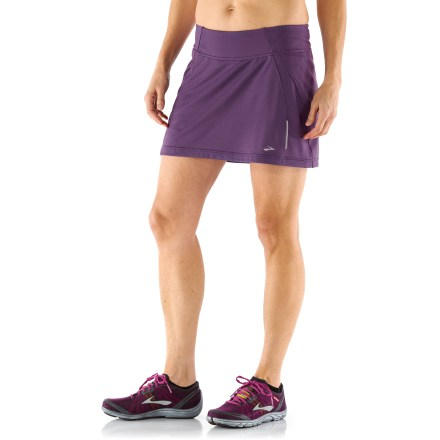 Fitness Lightweight fabric makes the Brooks PR Mesh Skort II a favorite for warm-weather training. Stretch-woven outer fabric is soft, moisture wicking and quick drying. Built-in liner shorts wick away moisture and dry quickly; liner shorts feature a small internal pocket on thigh. Contrasting waistband provides a comfortable fit, and rear zippered pocket holds a debit card or house key. Reflective highlights increase visibility from any angle. The semifitted the Brooks PR Mesh Skort II moves with you during activity without binding. Outer skirt length is 14 in. - $35.93