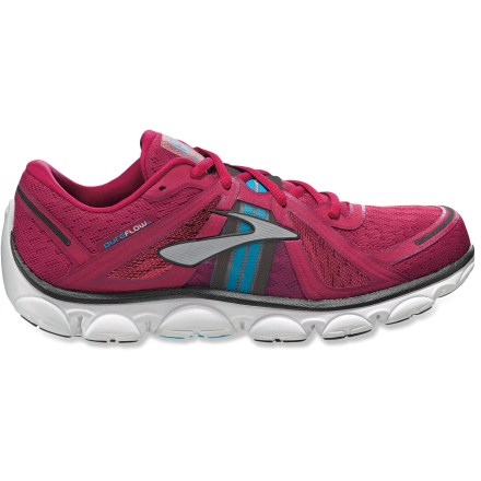 Fitness The Brooks PureFlow women's road-running shoes are designed for those seeking a minimalist feel, while retaining plenty of cushioning for logging miles on pavement. Lightweight uppers feature highly breathable polyester mesh with synthetic leather overlays to provide a foot-hugging fit. Wide rubber instep band offers the foot arch support without the bulkiness of underfoot materials. Center strike pods provide guidance in finding the natural landing zone. Inverted heel technology encourages contact points to shift forward, aligning the joints and thereby optimizing energy return. Midsoles feature BioMoGo polymer alloy foam, which provides cushioning, energy return and reduced foot fatigue; nontoxic additive helps midsoles break down in landfill. Split toe groove under the forefoot offers a greater sense of connection the ground. Low-profile rubber outsoles grip well on the road, sidewalk and gentle trails. 4mm heel-to-toe drop encourages a shorter, lower impact stride than traditional running shoes do. Designed on an anatomical last, Brooks PureFlow women's road-running shoes contour to the feet, providing a glovelike fit. All-synthetic construction makes these vegan friendly. - $62.93