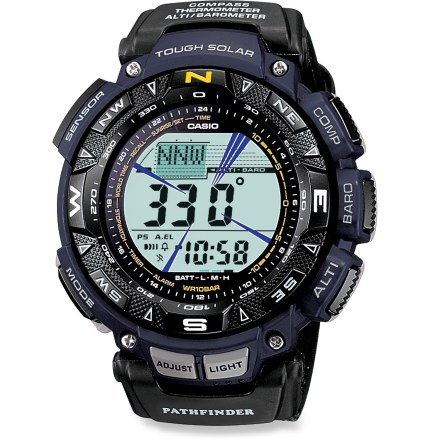 Entertainment The Casio Pathfinder PAG240B-2 multifunction watch charges itself from the sun's rays and keeps you informed with its digital compass, altimeter/barometer and thermometer. - $200.00