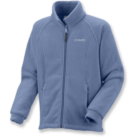 Entertainment Whether it's worn as part of a layering system in extreme cold or on its own on milder days, the Columbia Benton Springs fleece jacket offers girls cozy protection from chilly temperatures. Warm, breathable fleece dries quickly, insulates even when wet and is easy to care for. Columbia Benton Springs fleece jacket features 2 zippered hand pockets. Closeout. - $11.73