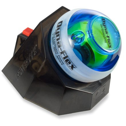 Climbing The Dynaflex Blue Gyro PowerBall Hand Exerciser + Docking Station spins at up to 15,000 RPM with up to 40 lbs. of torque to help improve your coordination while building the strength of your grip. - $32.93