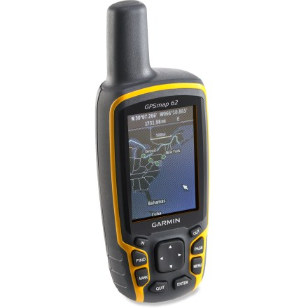 Camp and Hike The rugged Garmin GPSMAP 62 GPS sports a sleek, waterproof design that includes a crisp color screen, support for satellite imagery, and a reliable quad helix antenna with a high-sensitivity receiver. - $169.83