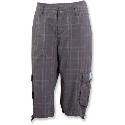 The women's Life is good(R) Journey Cargo Shorts are fun plaid shorts in a longer length. Cotton poplin is garment washed for softness. Mid-rise waist features fixed waistband, zip fly and button closure. Drawcord at lower leg openings. 2 hand pockets and 2 cargo pockets. - $27.83