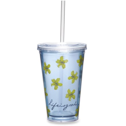 Camp and Hike The Life is good(R) Reusable Cup and Straw is a smart and fun alternative to disposable cups. Made from durable BPA-free acrylic. Rubber gasket on straw helps prevent leaks. Hand wash only. - $7.93