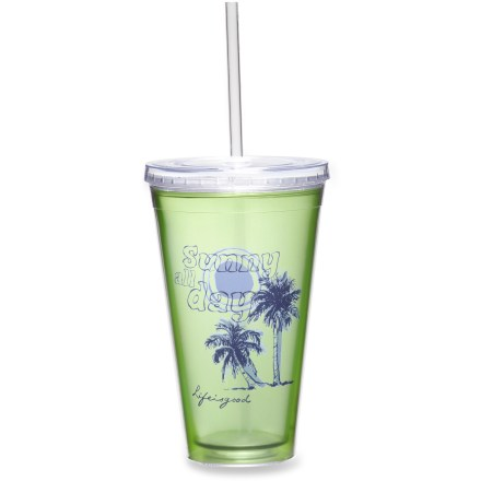 Camp and Hike A toast to summer relaxing, the Reuseable Cup and Straw combo from Life is good(R) lets you sip to your heart's content. Sturdy BPA-free acrylic holds up to daily use. Straw has rubber gasket to help prevent spills. Hand wash only. - $5.83