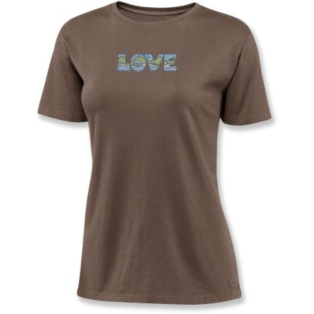 "The Life is good(R) Love Outdoors Crusher short-sleeve T-shirt is made from exceptionally soft cotton with fresh pigment-dyed color and original graphics. ""Crushing"" process yields extra loft in fabric and doubles the softness. Relaxed fit. - $17.93"