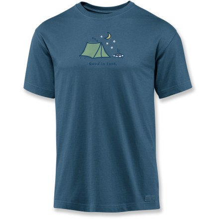 "Camp and Hike The Life is good(R) Good In Tent Crusher T-shirt boasts lofty softness and a handsome weathered look. Cotton is naturally soft, breathable and comfortable. ""Crushing"" process yields extra loft in fabric and doubles the softness. - $17.93"