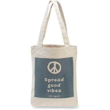 Entertainment The Life is good(R) Simple canvas tote bag is ideal for girls, moms and ladies of all ages. Durable cotton canvas stands up to years of heavy use; distinctive graphics add a stylish touch. Webbed cotton handles feature contrast stitching for added style. - $15.93