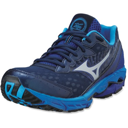 Fitness Mizuno Wave Rider 16 road-running shoes are built for neutral runners looking to log lots of comfortable miles. - $55.83