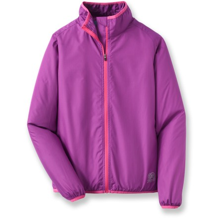 Fitness The featherweight Novara Stowable bike jacket for girls is so comfortable and quiet, she may forget she has it on. When she takes it off, it stows conveniently in its own pocket. - $9.83