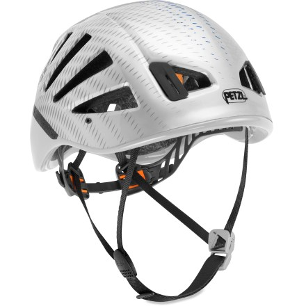 Climbing The ultralight, well-ventilated Petzl Meteor III+ climbing helmet delivers amazing comfort that lets you to stay focused on reaching the summit. Easily adjust the helmet's nape strap, chin strap and headband strap for just the right feel; adjustment system retracts for easy storage and transport. Polycarbonate shell is lined with expanded polysteyrene to absorb impacts. Helmet weighs a mere 235g (8.3 oz). Interior comfort foam is removable and washable. 4 clips secure a headlamp (sold separately) for late-night vertical use. Includes carry bag for storage and transport. 1 size fits all head circumferences 53 - 61cm (20.8 - 24 in.). Compatible with the Petzl Vizion face shield (not included). Petzl Meteor III+ climbing helmet meets UIAA and CE specifications for climbing. - $99.95